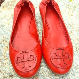 Tory Burch ballet flats (red leather) size 7 1/2